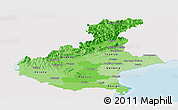 Political Shades Panoramic Map of Veneto, single color outside