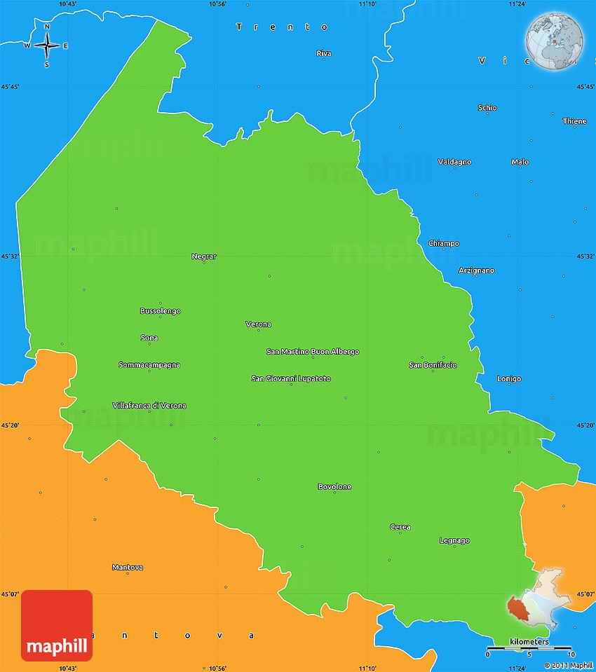 Political Simple Map Of Verona