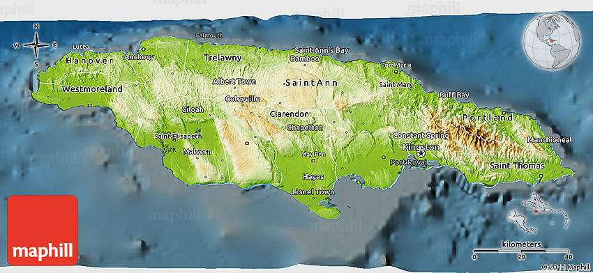 Physical D Map Of Jamaica Darken - Physical map of jamaica