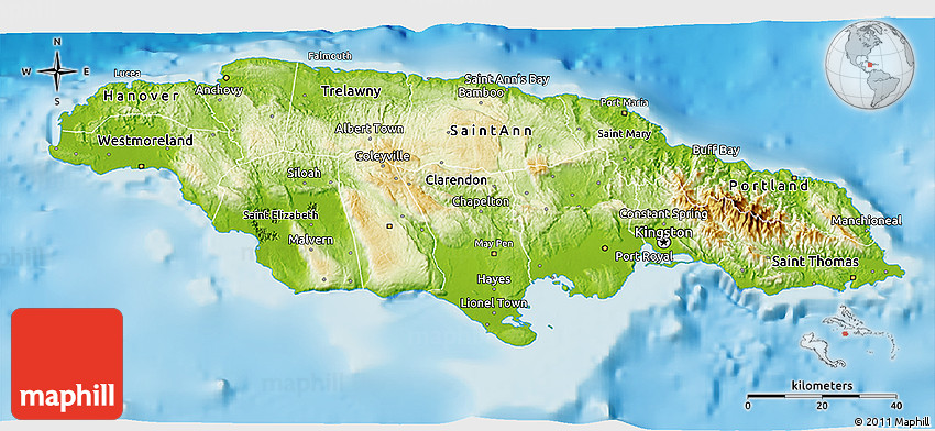 Physical D Map Of Jamaica - Jamaica map