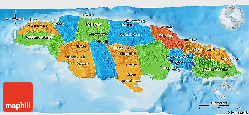 Political 3D Map of Jamaica