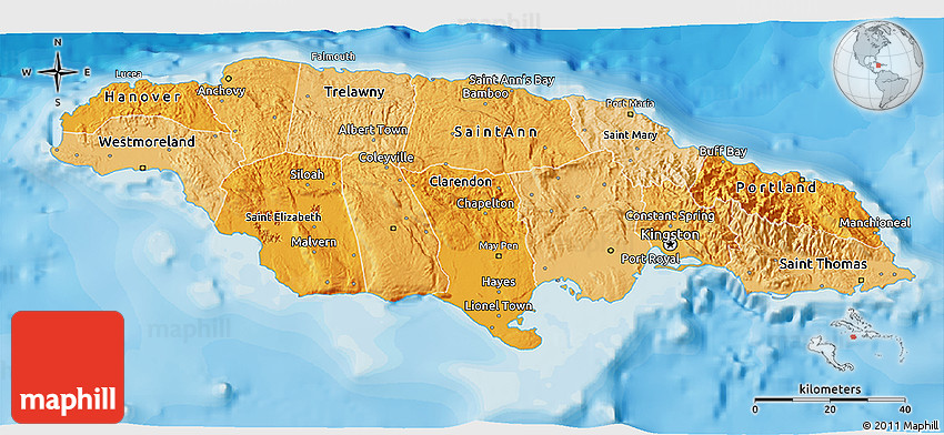 Political Shades D Map Of Jamaica - Political map of jamaica