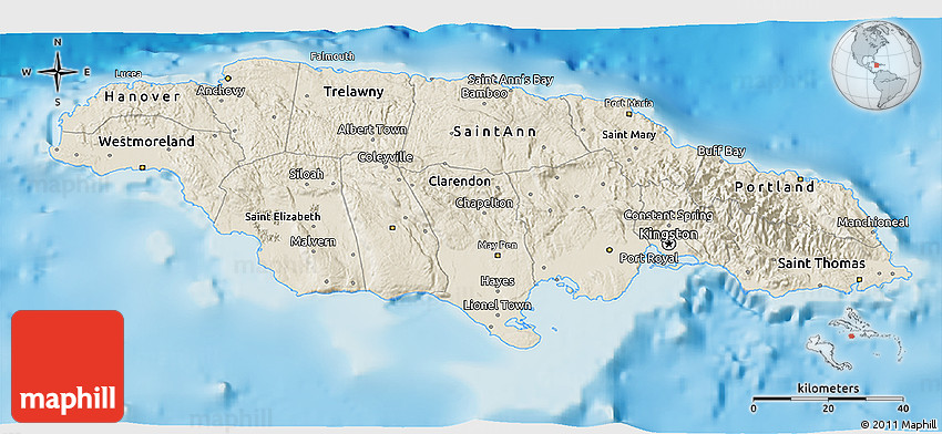 Shaded relief 3d map of jamaica 2d gumiabroncs Gallery