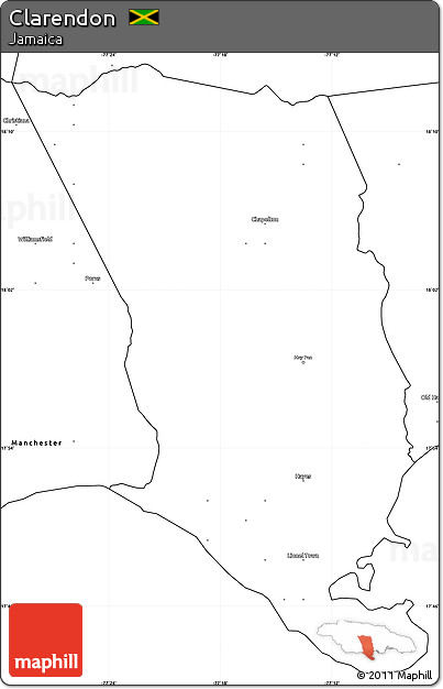 Free Blank Simple Map of Clarendon