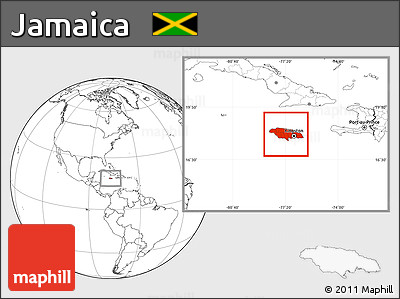 Blank Location Map of Jamaica