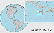 Blank Location Map of Jamaica, gray outside