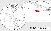 Blank Location Map of Jamaica, highlighted continent