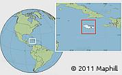 Blank Location Map of Jamaica, savanna style outside