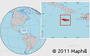Gray Location Map of Jamaica