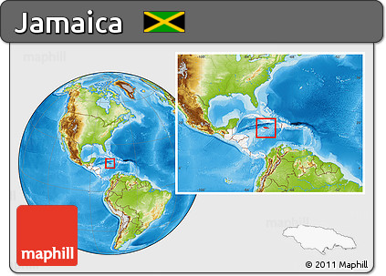 Free physical location map of jamaica highlighted continent within physical location map of jamaica highlighted continent within the entire continent gumiabroncs Images