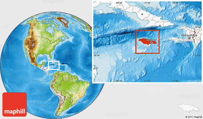 Physical location map of jamaica highlighted continent 2d gumiabroncs Images