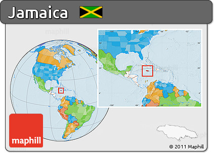Free Political Location Map of Jamaica highlighted continent