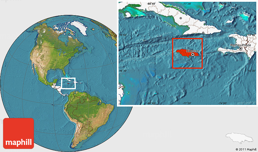 Satellite location map of jamaica highlighted continent gumiabroncs Images