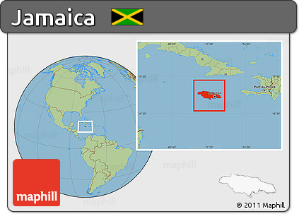 Free Savanna Style Location Map of Jamaica