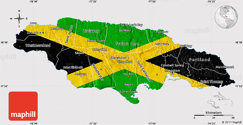 Flag Map Of Jamaica - Jamaica map