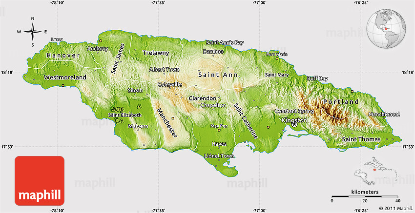 Physical Map Of Jamaica Cropped Outside - Physical map of jamaica