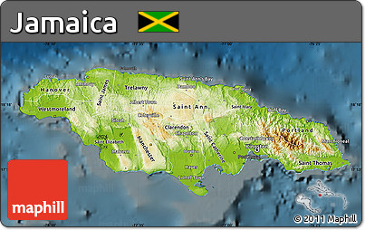 Free Physical Map Of Jamaica Darken - Jamaica physical map