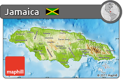 Free Physical Map Of Jamaica - Jamaica physical map