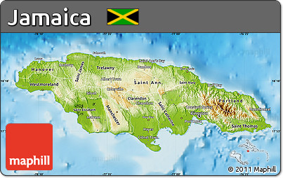 Free Physical Map Of Jamaica Political Shades Outside Shaded - Political map of jamaica