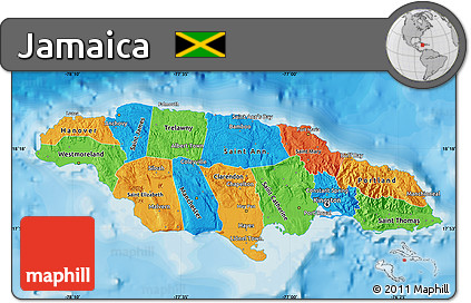 Free Political Map of Jamaica