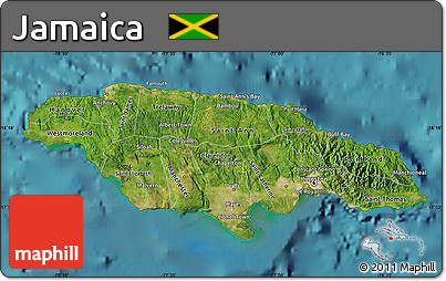 Free Satellite Map Of Jamaica Physical Outside Satellite Sea - Jamaica physical map