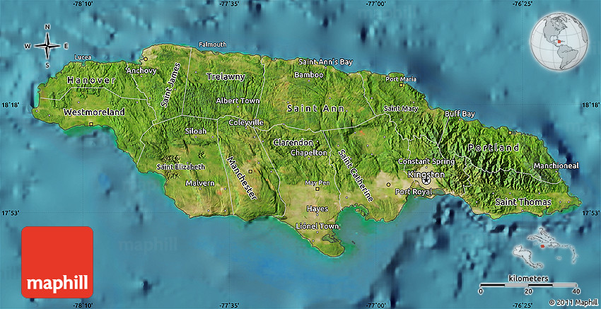Zoomedin View Of A Jamaica Outline With Perspective Lines Against - Satellite images of