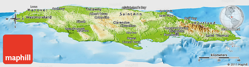 Physical Panoramic Map Of Jamaica - Physical map of jamaica