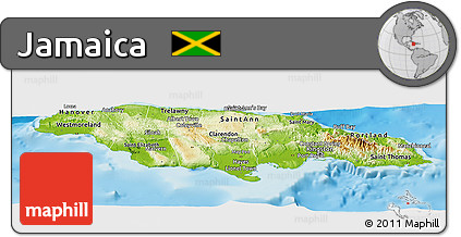 Free Physical Panoramic Map of Jamaica political outside shaded