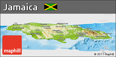 Free Physical Panoramic Map Of Jamaica Political Outside Shaded - Physical map of jamaica