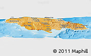 Political Shades Panoramic Map of Jamaica