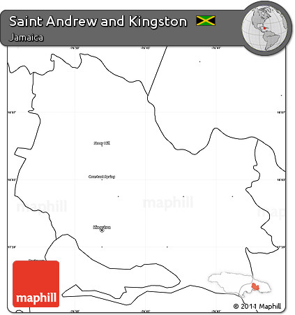 Free Blank Simple Map of Saint Andrew and Kingston