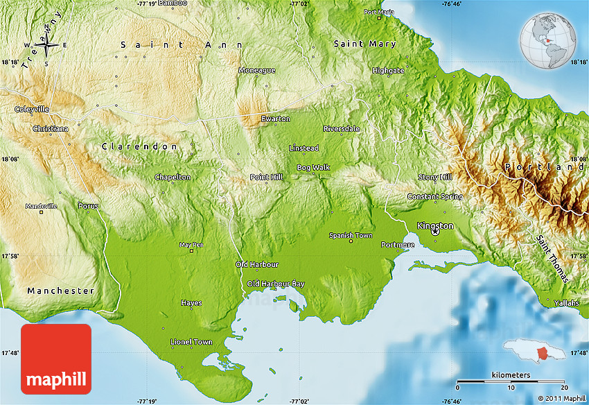 Physical Map Of Saint Catherine - Physical map of jamaica
