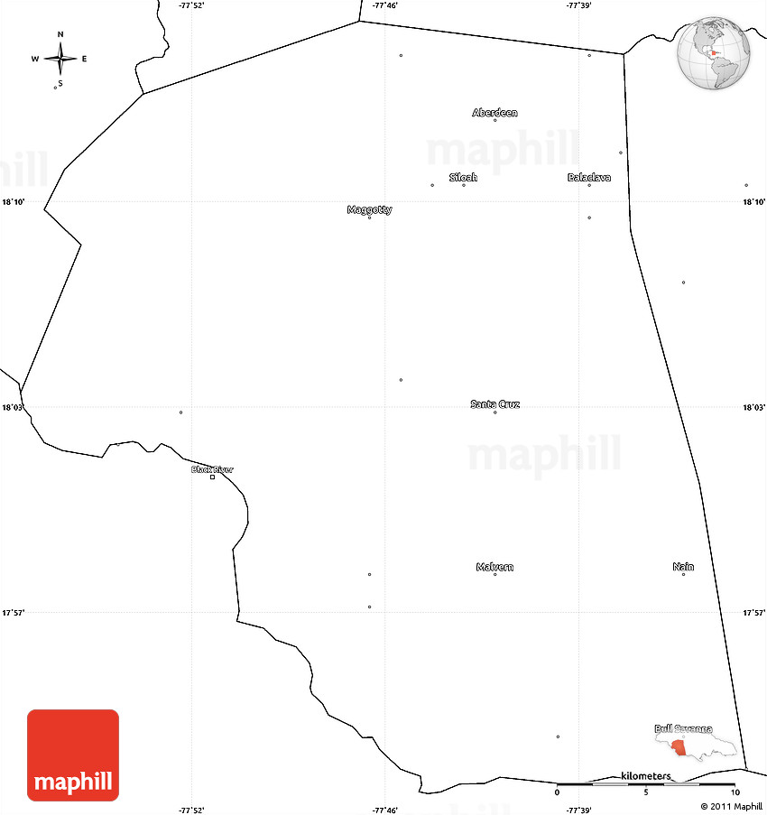 Blank Simple Map of Saint Elizabeth
