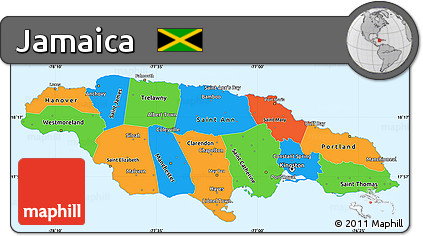 Free Political Simple Map of Jamaica