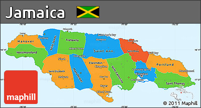 Free Political Simple Map Of Jamaica Political Shades Outside - Political map of jamaica