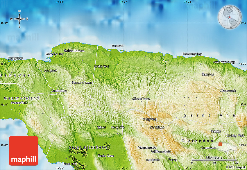 Physical Map Of Trelawny - Physical map of jamaica