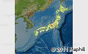 Physical 3D Map of Japan, darken