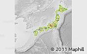 Physical 3D Map of Japan, lighten, desaturated