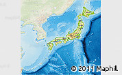 Physical 3D Map of Japan, lighten, land only