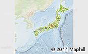 Physical 3D Map of Japan, lighten