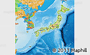 Physical 3D Map of Japan, political outside, shaded relief sea