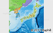Physical 3D Map of Japan, political shades outside, shaded relief sea