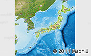 Physical 3D Map of Japan, satellite outside, shaded relief sea