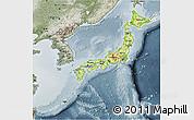 Physical 3D Map of Japan, semi-desaturated