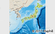 Physical 3D Map of Japan, shaded relief outside