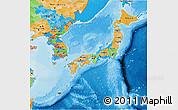 Political 3D Map of Japan