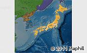 Political Shades 3D Map of Japan, darken
