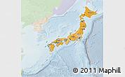 Political Shades 3D Map of Japan, lighten