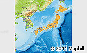 Political Shades 3D Map of Japan, physical outside