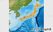 Political Shades 3D Map of Japan, satellite outside, bathymetry sea